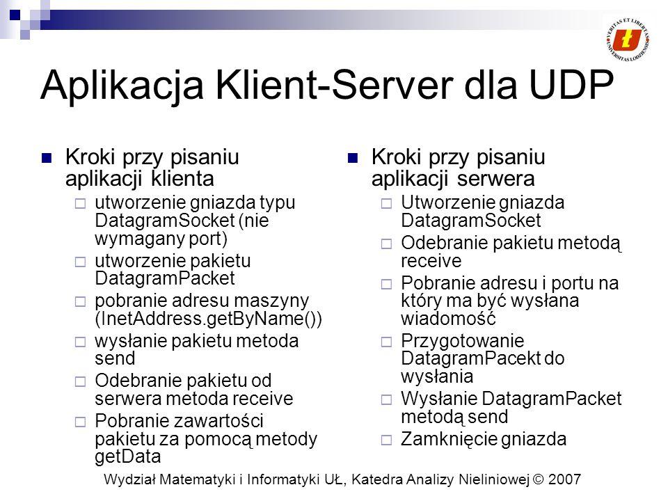 Aplikacja Klient-Server dla UDP