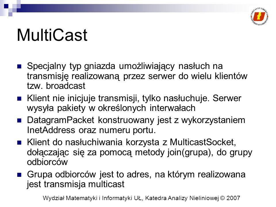 MultiCast Specjalny typ gniazda umożliwiający nasłuch na transmisję realizowaną przez serwer do wielu klientów tzw. broadcast.