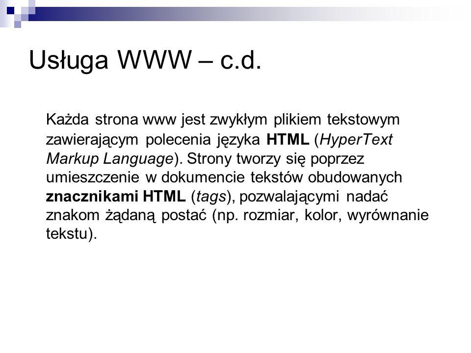 Usługa WWW – c.d.