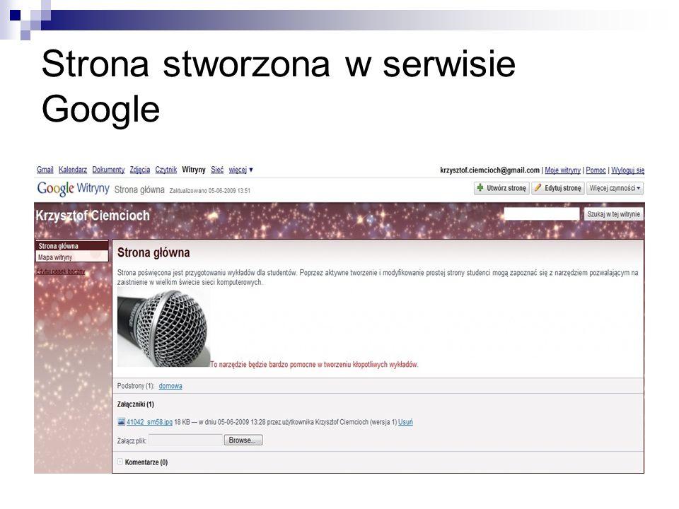 Strona stworzona w serwisie Google