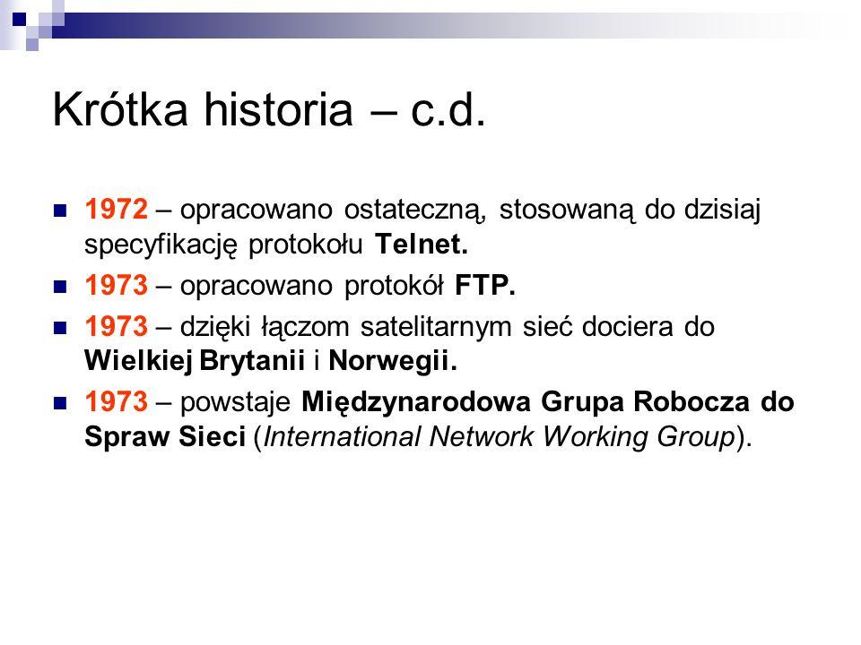Krótka historia – c.d. 1972 – opracowano ostateczną, stosowaną do dzisiaj specyfikację protokołu Telnet.