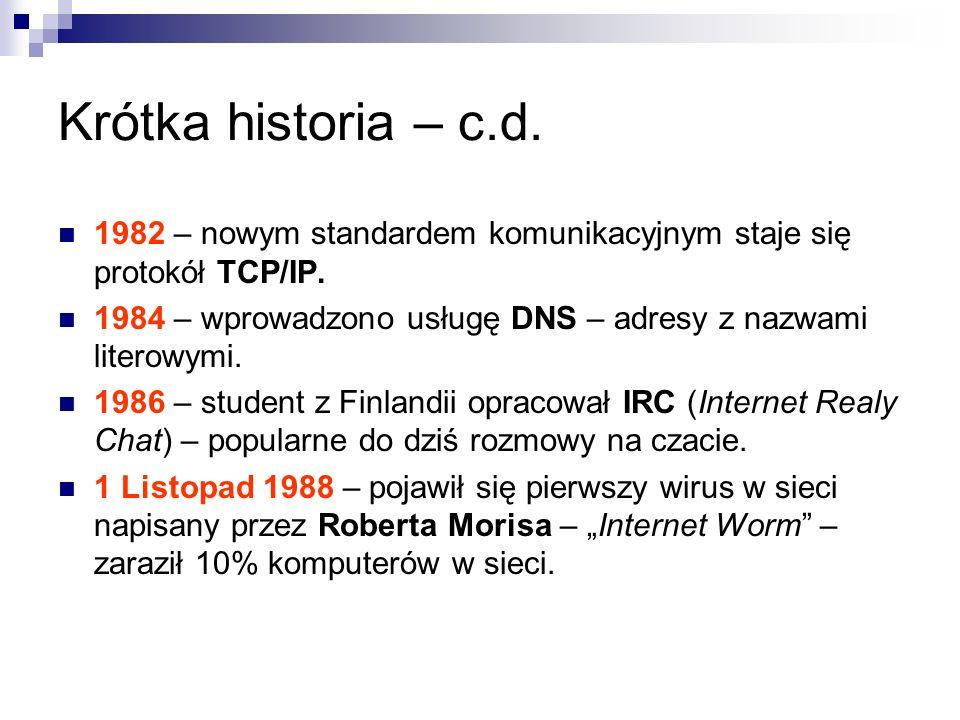 Krótka historia – c.d. 1982 – nowym standardem komunikacyjnym staje się protokół TCP/IP.