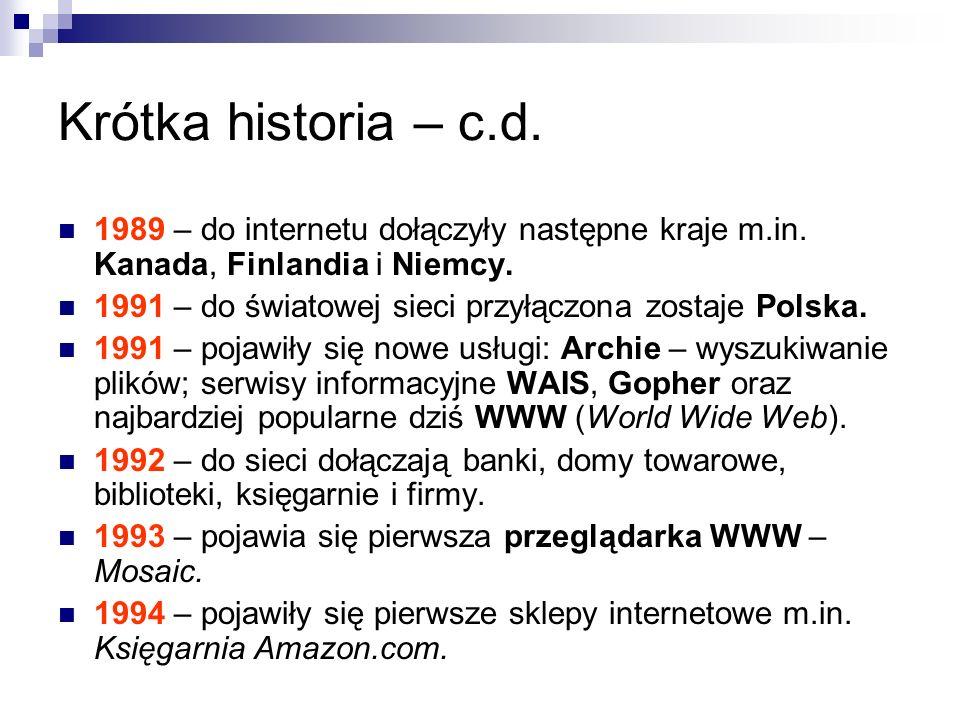 Krótka historia – c.d. 1989 – do internetu dołączyły następne kraje m.in. Kanada, Finlandia i Niemcy.