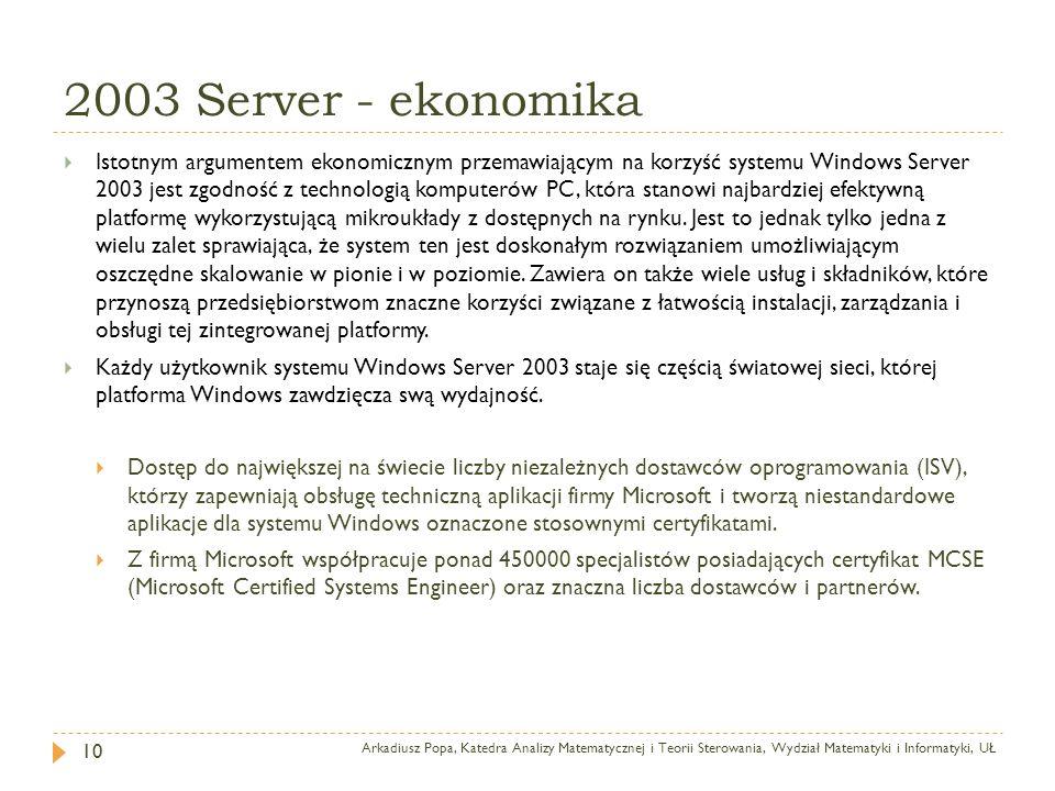 2003 Server - ekonomika