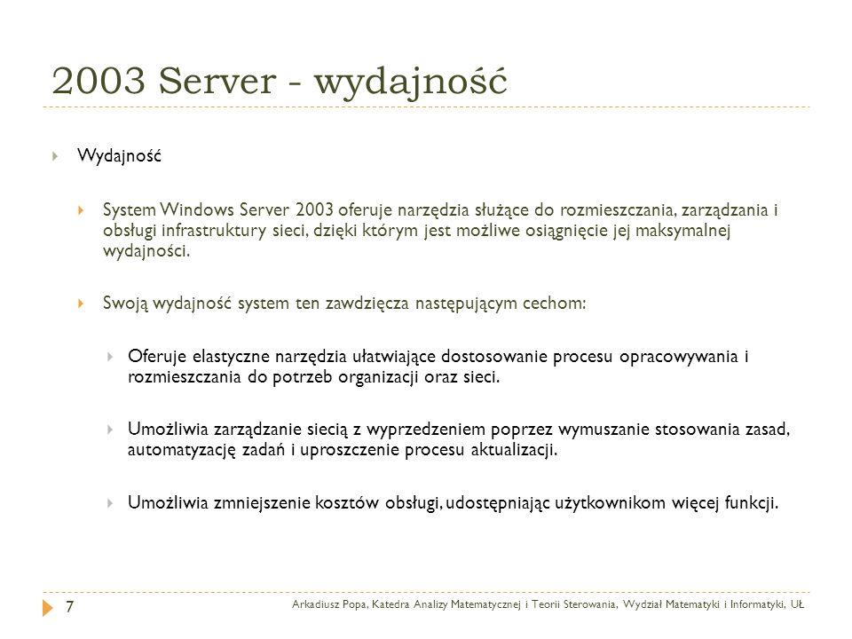 2003 Server - wydajność Wydajność