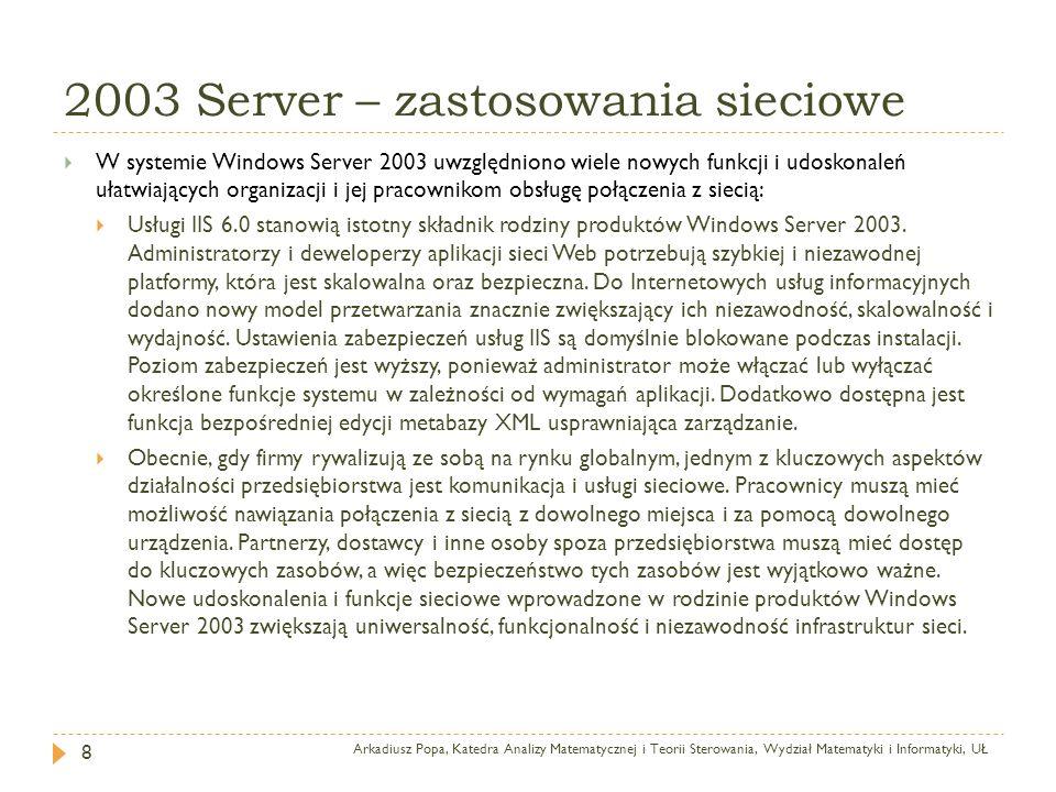 2003 Server – zastosowania sieciowe