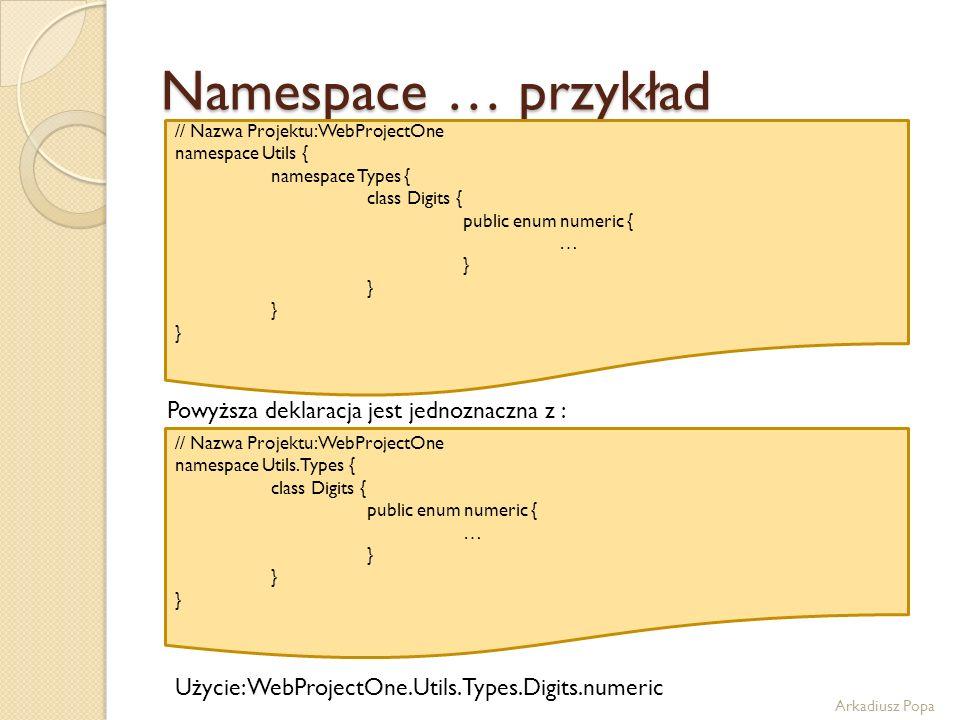 Namespace … przykład Powyższa deklaracja jest jednoznaczna z :
