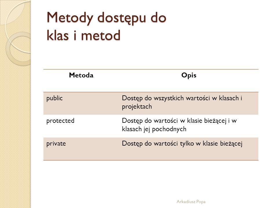 Metody dostępu do klas i metod