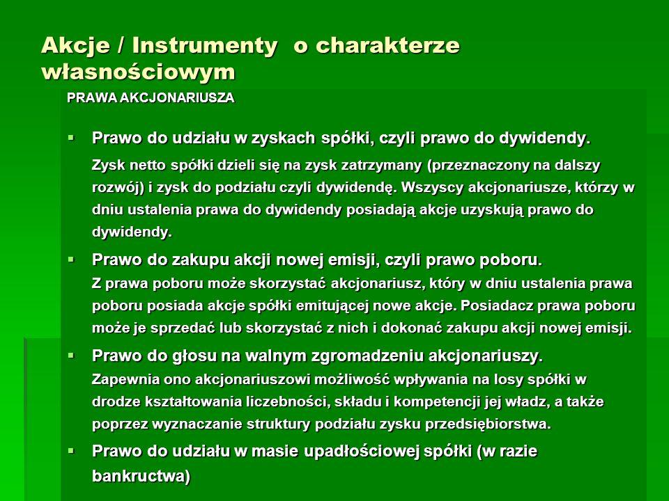 Akcje / Instrumenty o charakterze własnościowym