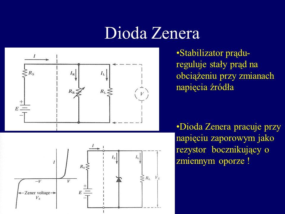 Dioda Zenera Stabilizator prądu- reguluje stały prąd na obciążeniu przy zmianach napięcia źródła.