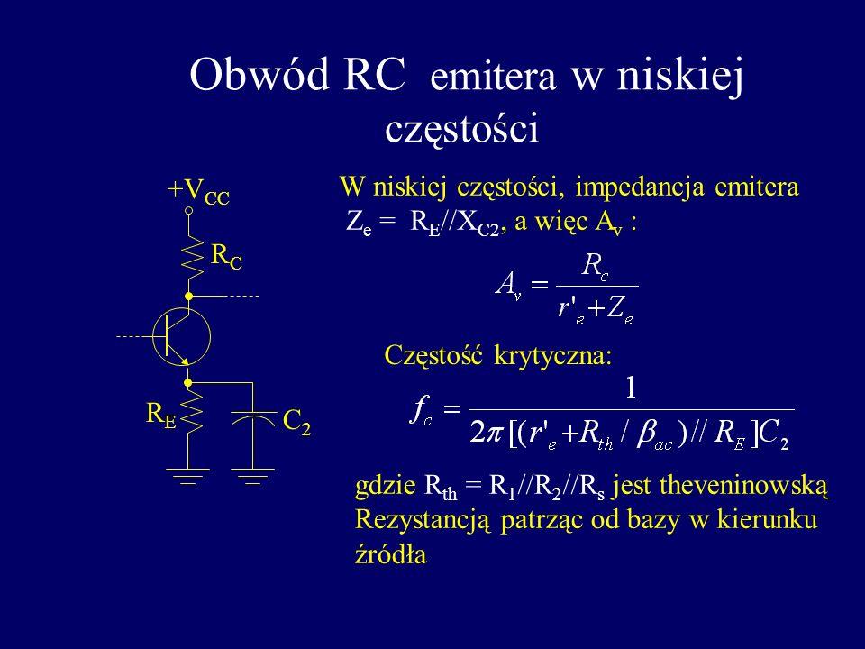 Obwód RC emitera w niskiej częstości