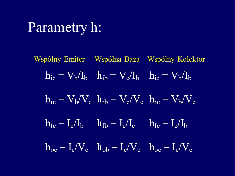 Parametry h: Wspólny Emiter Wspólna Baza Wspólny Kolektor
