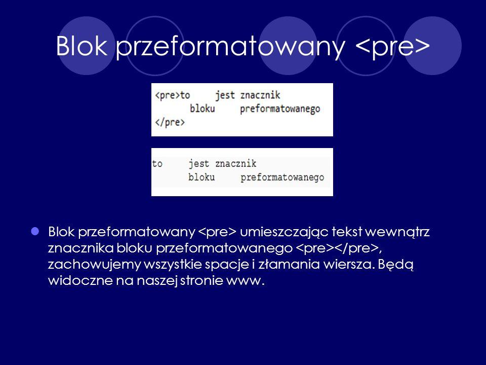 Blok przeformatowany <pre>