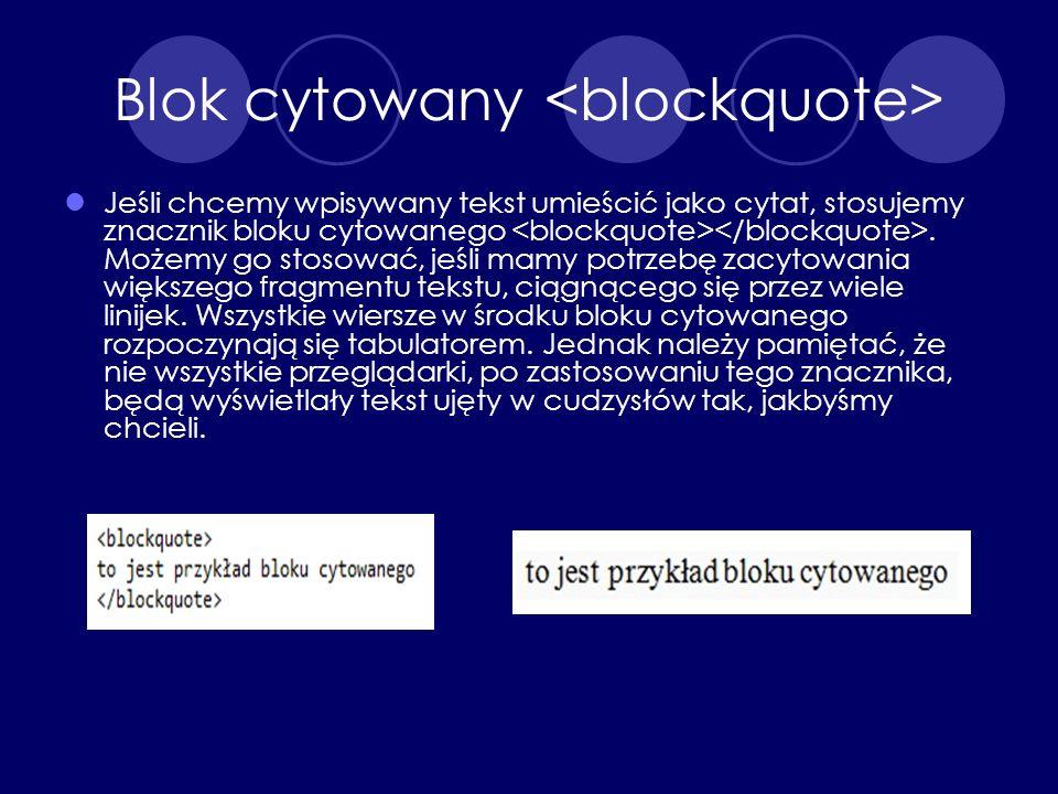 Blok cytowany <blockquote>