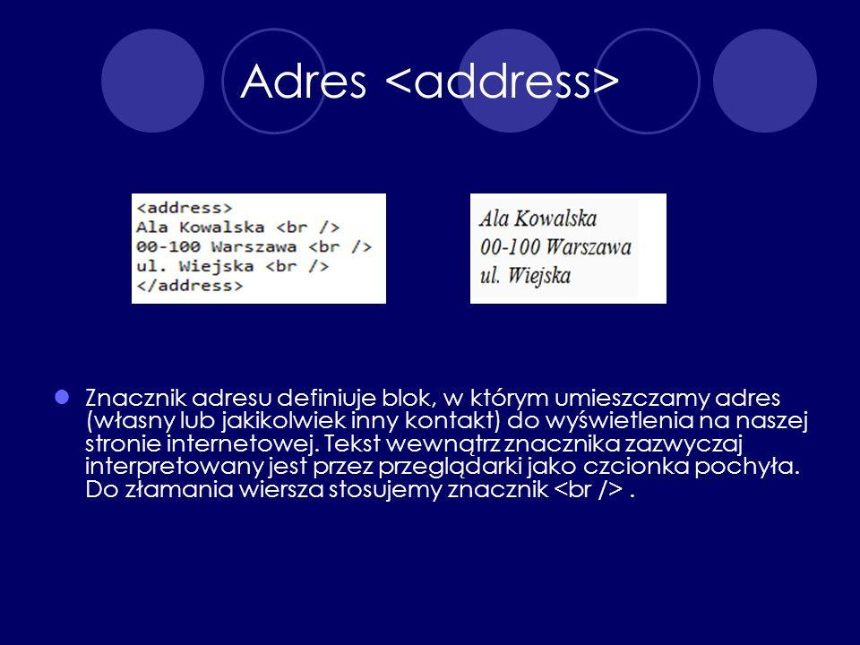 Adres <address>