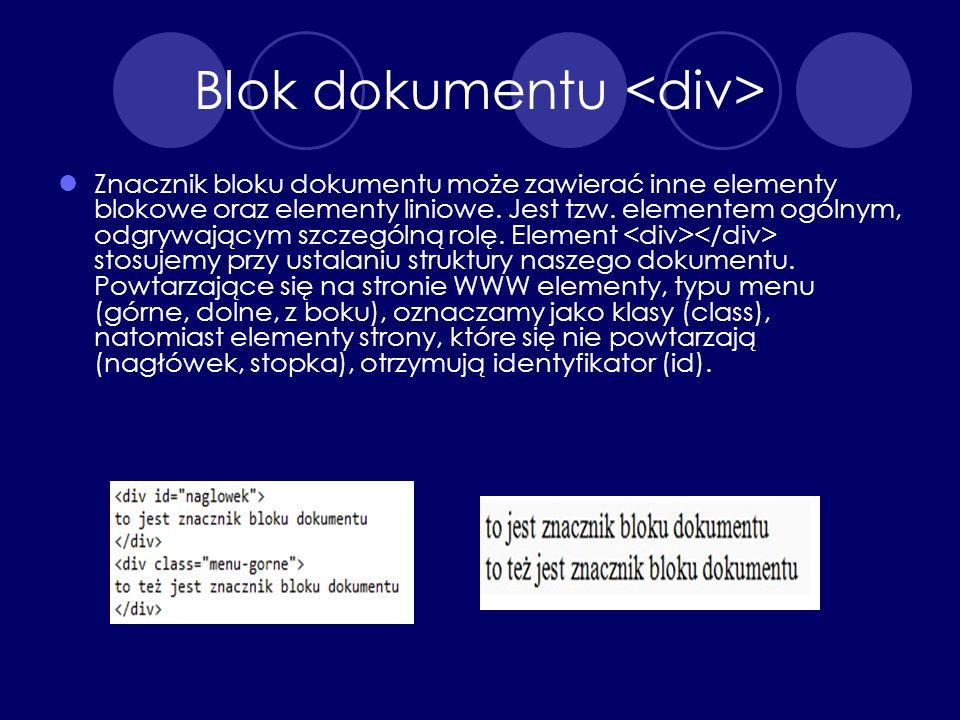 Blok dokumentu <div>