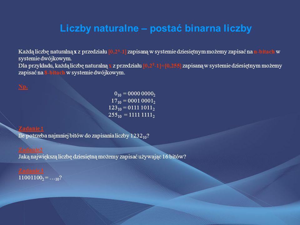 Liczby naturalne – postać binarna liczby