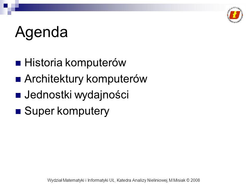 Agenda Historia komputerów Architektury komputerów