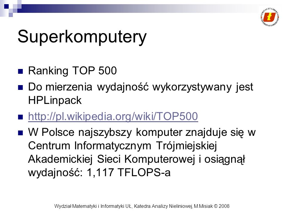 Superkomputery Ranking TOP 500