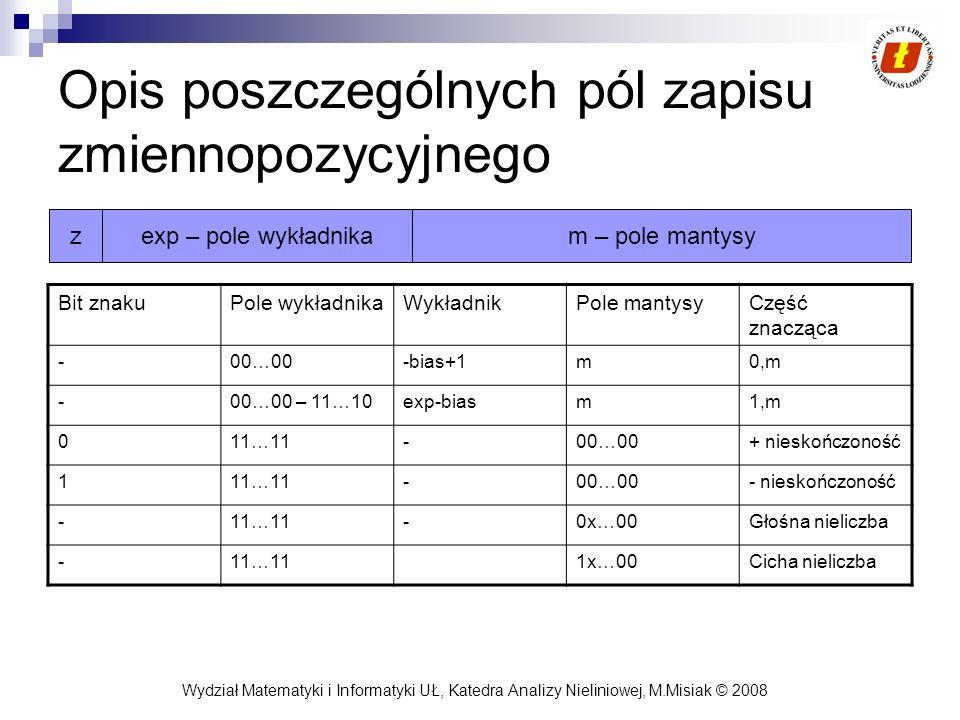 Opis poszczególnych pól zapisu zmiennopozycyjnego