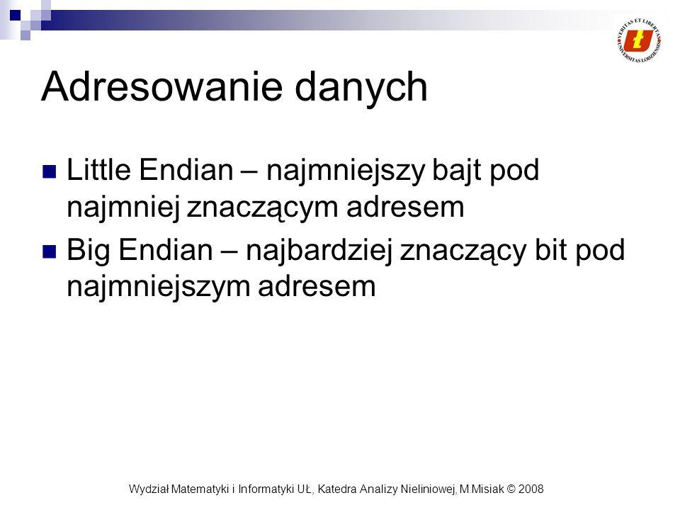Adresowanie danych Little Endian – najmniejszy bajt pod najmniej znaczącym adresem.