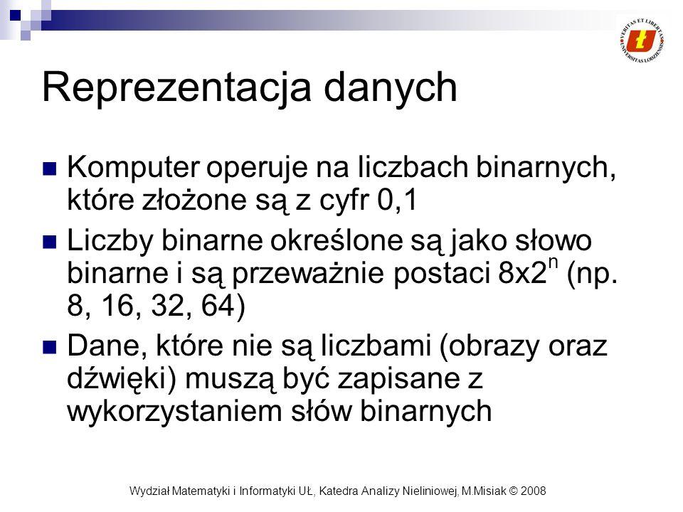 Reprezentacja danych Komputer operuje na liczbach binarnych, które złożone są z cyfr 0,1.