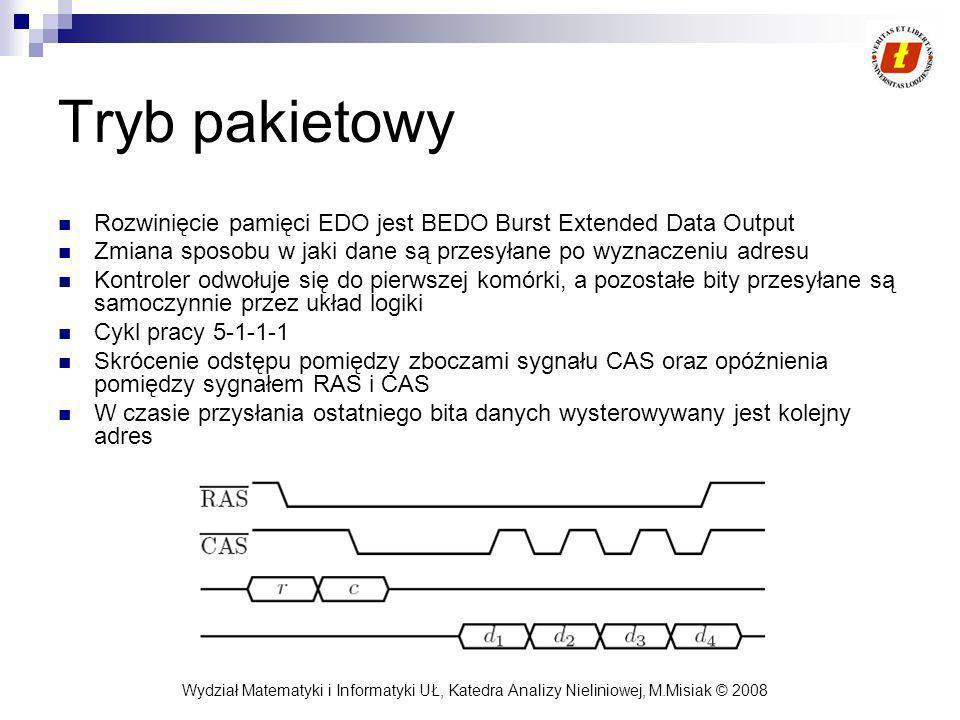 Tryb pakietowy Rozwinięcie pamięci EDO jest BEDO Burst Extended Data Output. Zmiana sposobu w jaki dane są przesyłane po wyznaczeniu adresu.