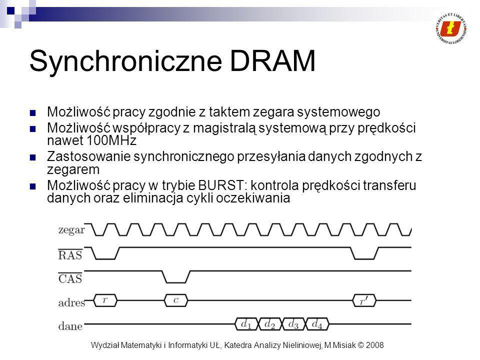 Synchroniczne DRAM Możliwość pracy zgodnie z taktem zegara systemowego