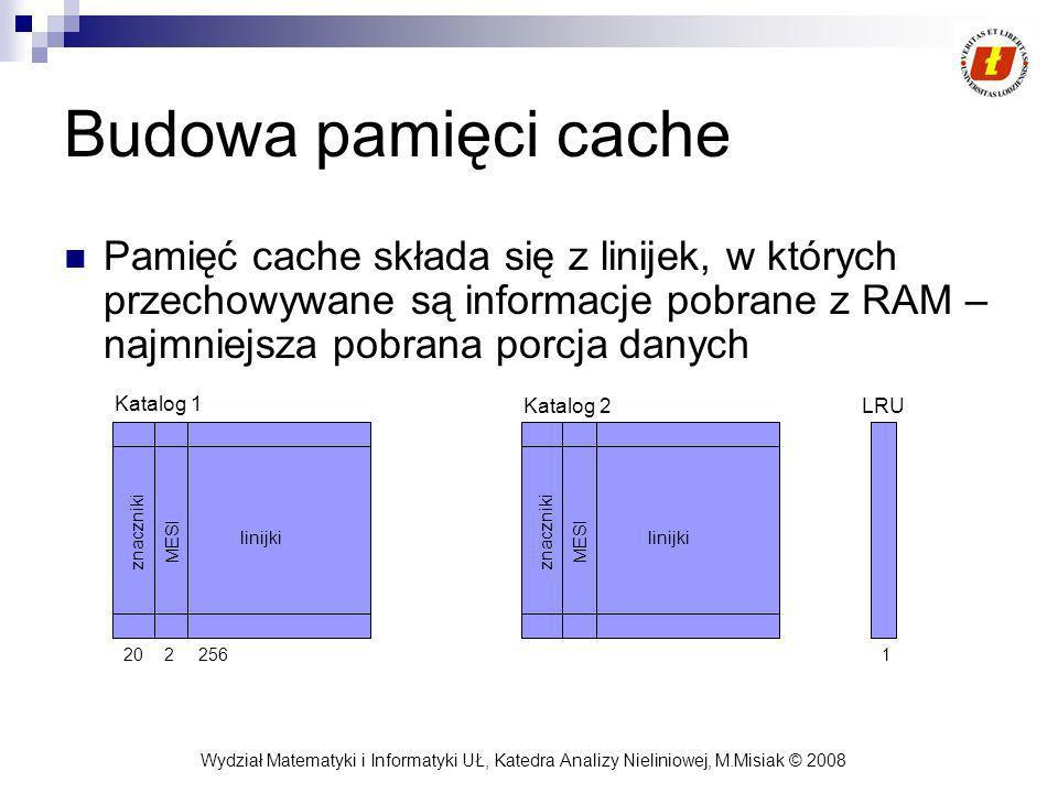 Budowa pamięci cache Pamięć cache składa się z linijek, w których przechowywane są informacje pobrane z RAM – najmniejsza pobrana porcja danych.