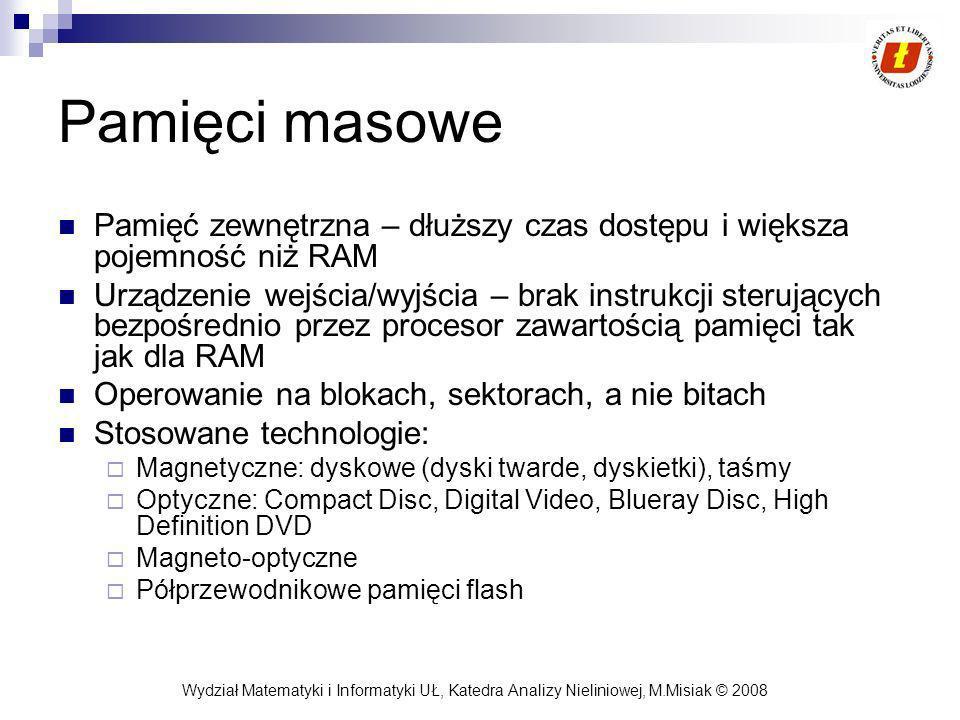 Pamięci masowe Pamięć zewnętrzna – dłuższy czas dostępu i większa pojemność niż RAM.