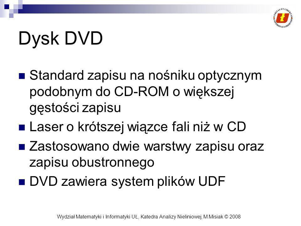 Dysk DVD Standard zapisu na nośniku optycznym podobnym do CD-ROM o większej gęstości zapisu. Laser o krótszej wiązce fali niż w CD.
