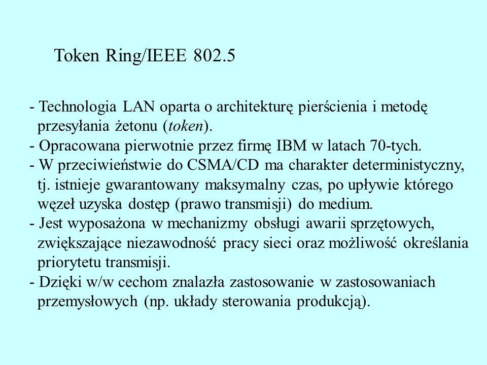 Token Ring/IEEE 802.5 - Technologia LAN oparta o architekturę pierścienia i metodę. przesyłania żetonu (token).