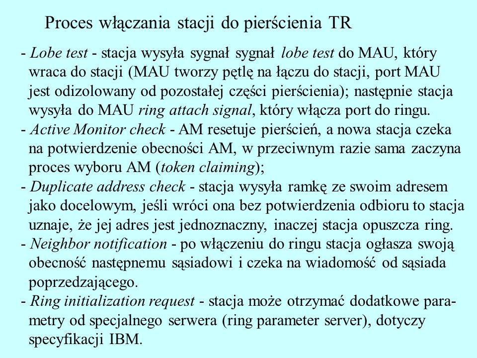 Proces włączania stacji do pierścienia TR