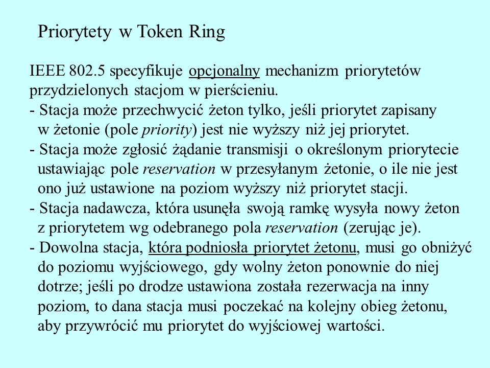 Priorytety w Token Ring