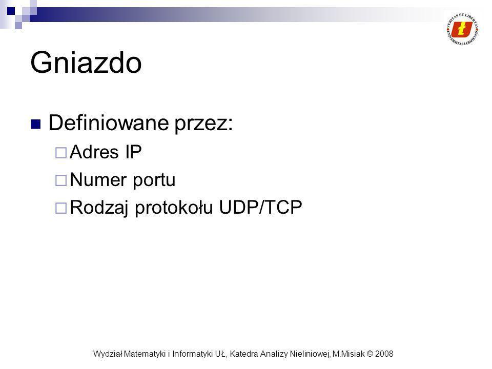 Gniazdo Definiowane przez: Adres IP Numer portu