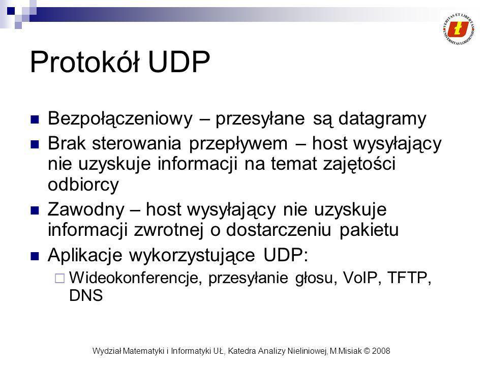 Protokół UDP Bezpołączeniowy – przesyłane są datagramy
