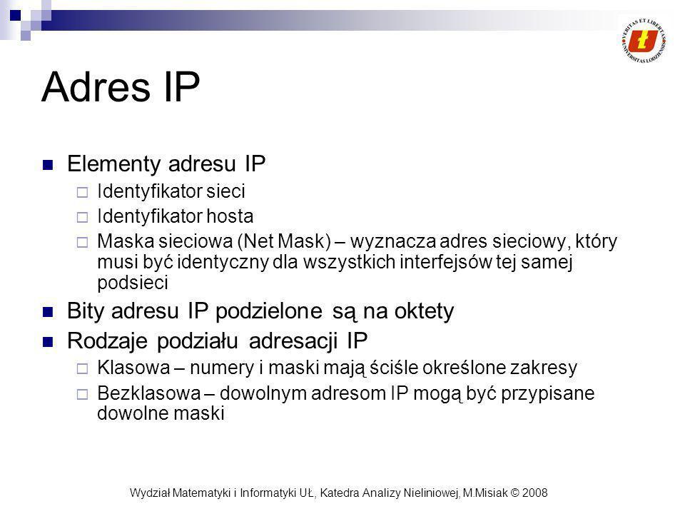 Adres IP Elementy adresu IP Bity adresu IP podzielone są na oktety