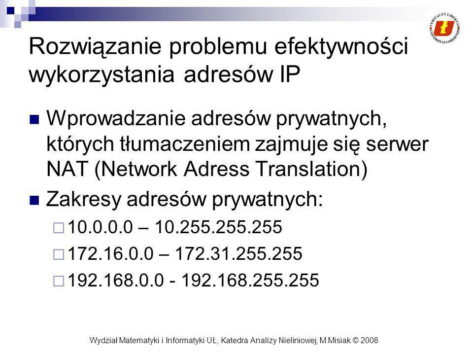 Rozwiązanie problemu efektywności wykorzystania adresów IP