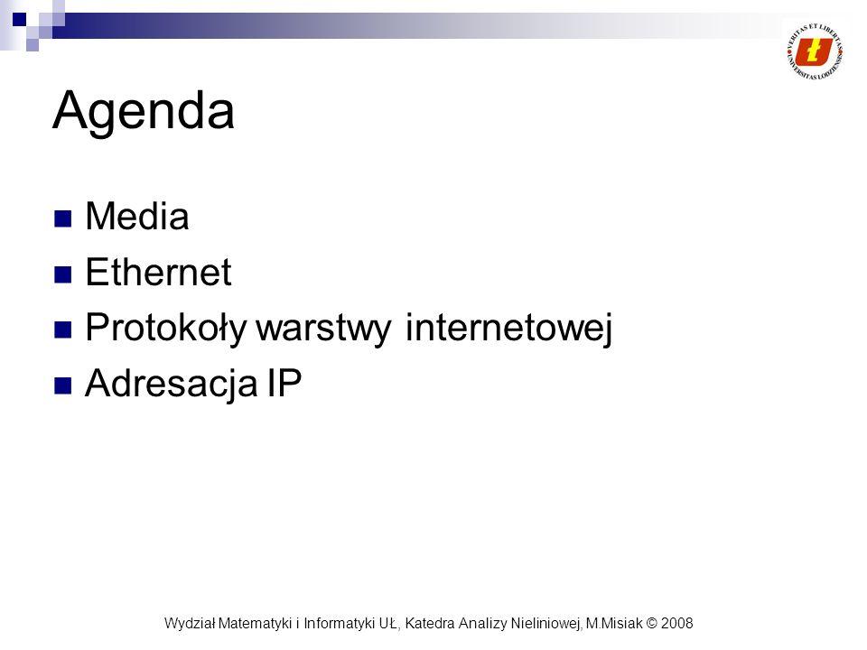 Agenda Media Ethernet Protokoły warstwy internetowej Adresacja IP