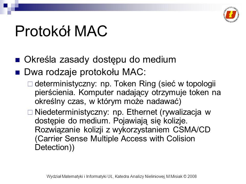 Protokół MAC Określa zasady dostępu do medium
