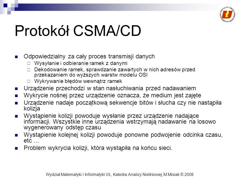 Protokół CSMA/CD Odpowiedzialny za cały proces transmisji danych