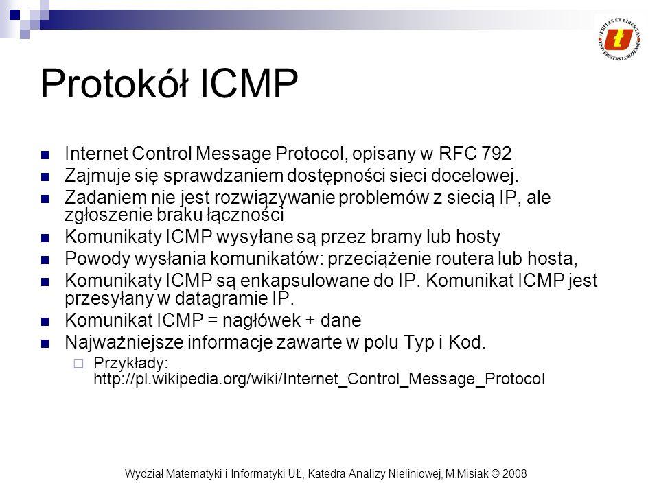 Protokół ICMP Internet Control Message Protocol, opisany w RFC 792