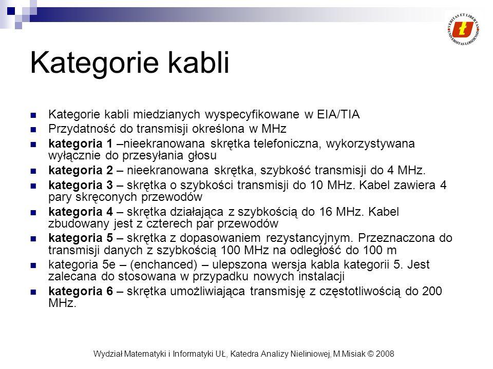 Kategorie kabli Kategorie kabli miedzianych wyspecyfikowane w EIA/TIA