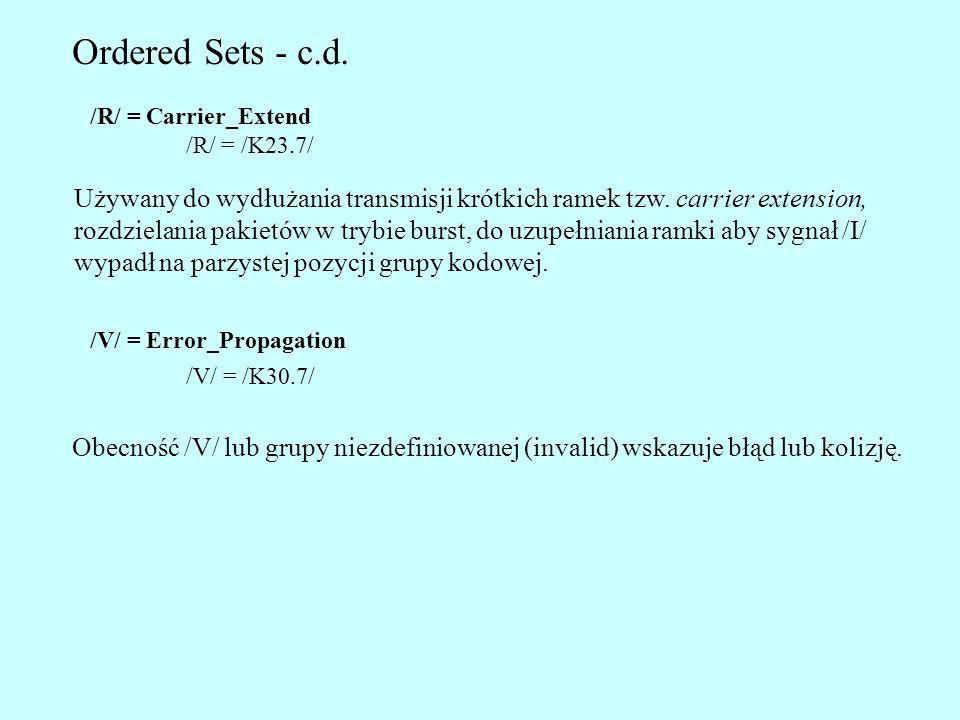 Ordered Sets - c.d. /R/ = Carrier_Extend. /R/ = /K23.7/ Używany do wydłużania transmisji krótkich ramek tzw. carrier extension,