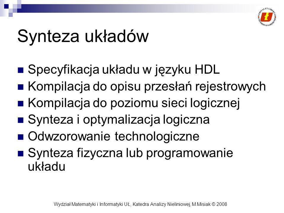 Synteza układów Specyfikacja układu w języku HDL
