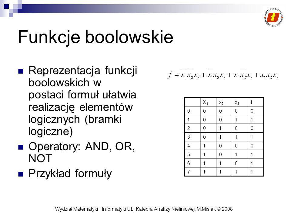 Funkcje boolowskie Reprezentacja funkcji boolowskich w postaci formuł ułatwia realizację elementów logicznych (bramki logiczne)
