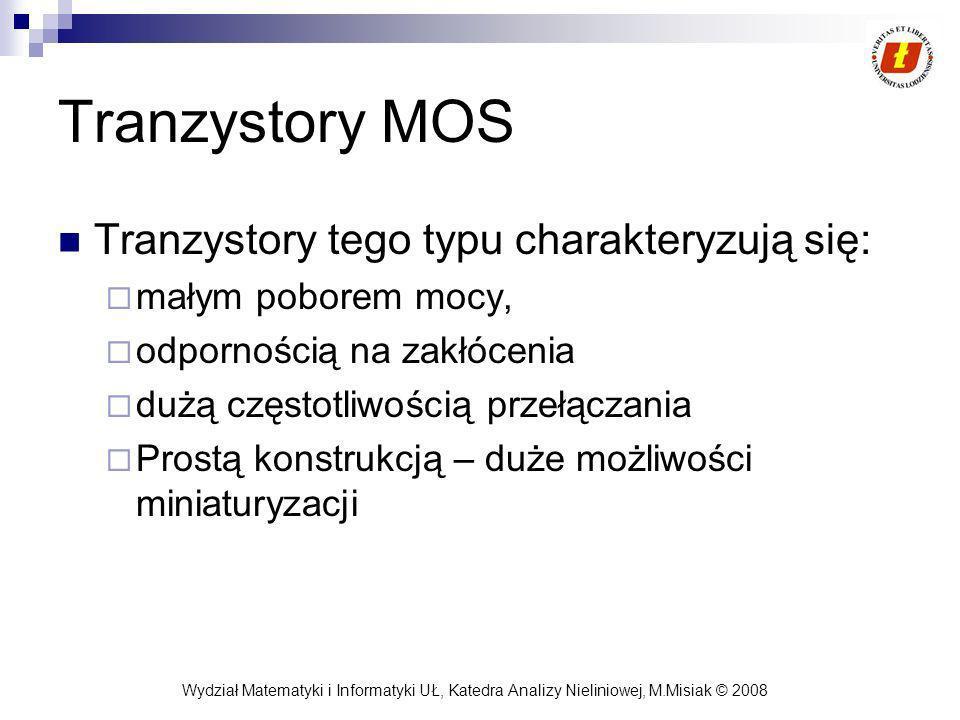 Tranzystory MOS Tranzystory tego typu charakteryzują się: