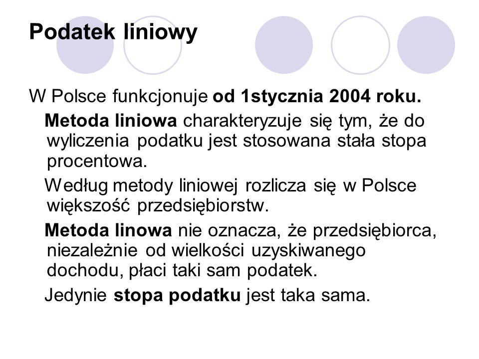 Podatek liniowy W Polsce funkcjonuje od 1stycznia 2004 roku.