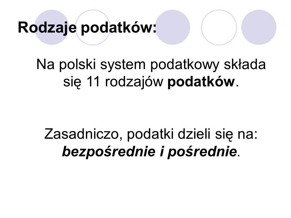 Rodzaje podatków: Na polski system podatkowy składa się 11 rodzajów podatków.