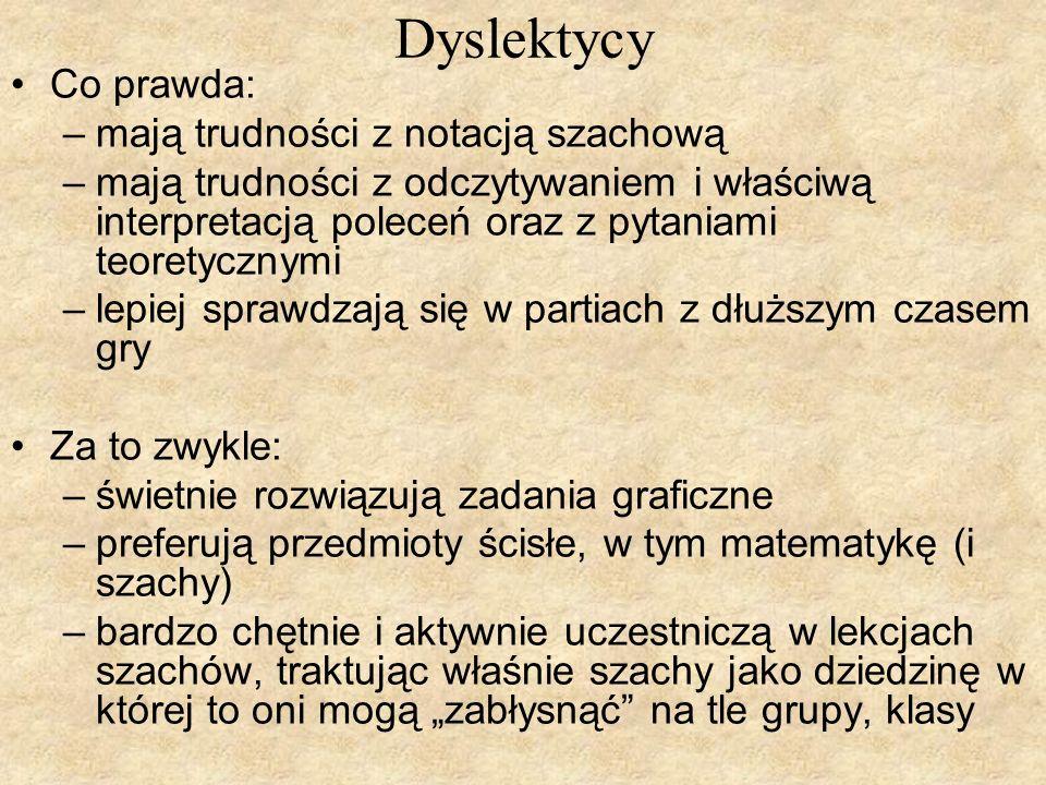 Dyslektycy Co prawda: mają trudności z notacją szachową